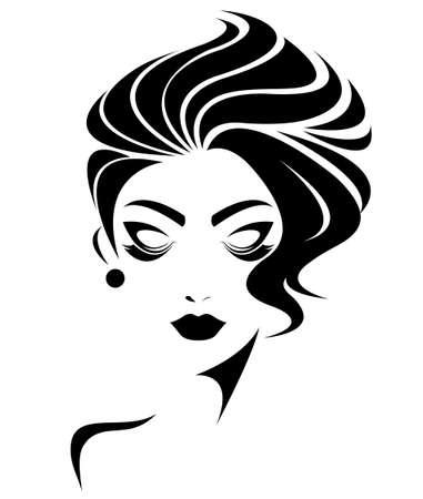 illustration de visage de femme, les femmes icône, les femmes font face sur fond blanc