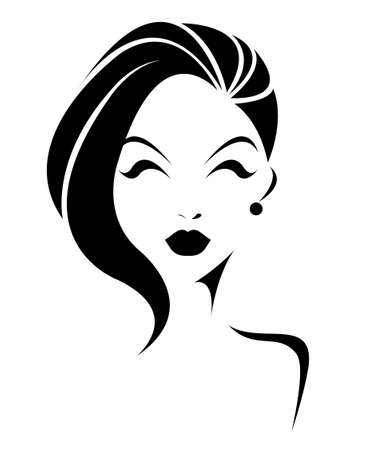 short hair: short hair style icon, women face on white background Illustration