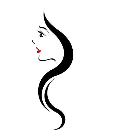 hair style fashion: long hair style icon, women face on white background