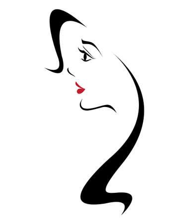 lang haar stijlicoon, vrouwen gezicht op witte achtergrond