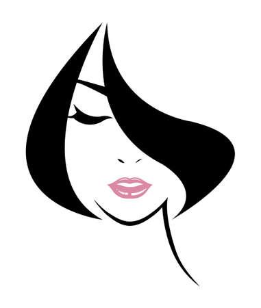 cabello corto: corta icono de estilo de pelo, las mujeres se enfrentan en el fondo blanco