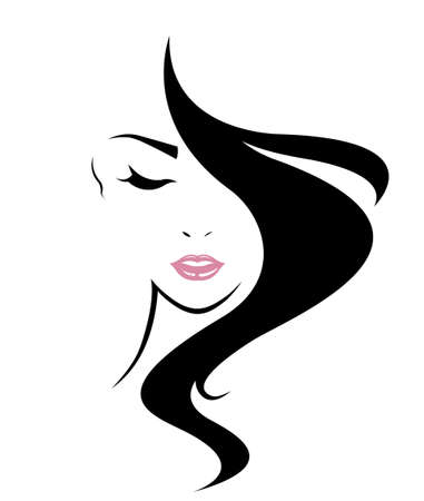 black: long hair style icon, women face on white background