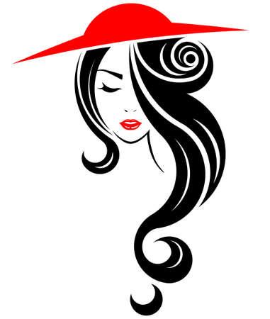 longue icône de style de cheveux avec un chapeau Vecteurs