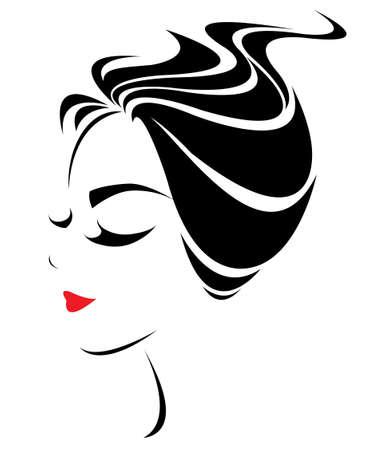 cabello corto: icono corto estilo de pelo las mujeres, las mujeres se enfrentan en el fondo blanco
