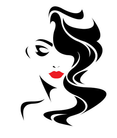 women long hair style icon, women face on white background