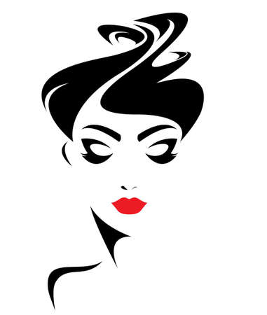 beauty woman face: women short hair style icon, women face on white background