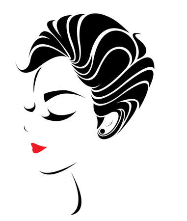 short hair: women short hair style icon,  women face on white background, vector