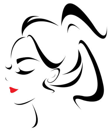 ponytail: women ponytail hair style icon,  women face on white background, vector