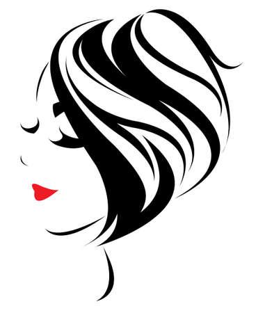 las mujeres icono de estilo de pelo corto, las mujeres se enfrentan en el fondo blanco, vector Ilustración de vector
