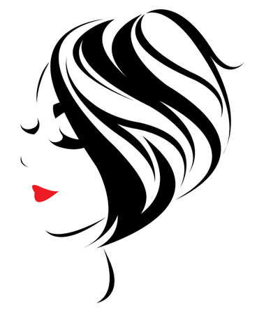 women short hair style icon, women face on white background, vector