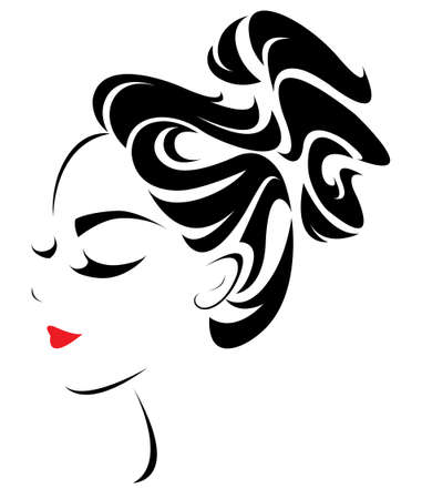 women ponytail hair style icon, logo women face on white background, vector