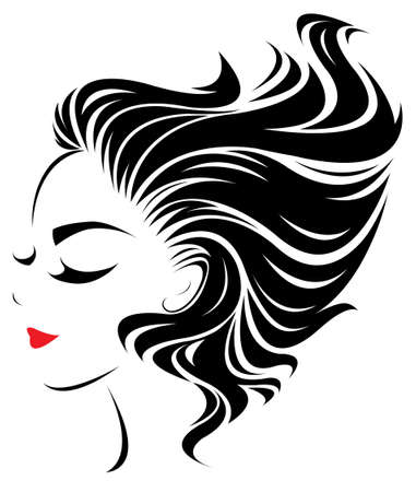 women hair style icon, logo women face on white background, vector