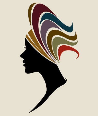 illustration vector of African women silhouette fashion models, beautiful black women