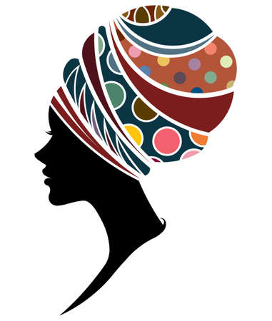 black woman face: illustration vector of African women silhouette fashion models, beautiful black women on white background Illustration