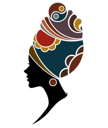 アフリカの女性のイラストのシルエットのファッション モデル、白い背景の上の美しい黒人女性  イラスト・ベクター素材