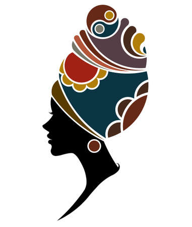 illustration vector of African women silhouette fashion models, beautiful black women on white background Ilustração
