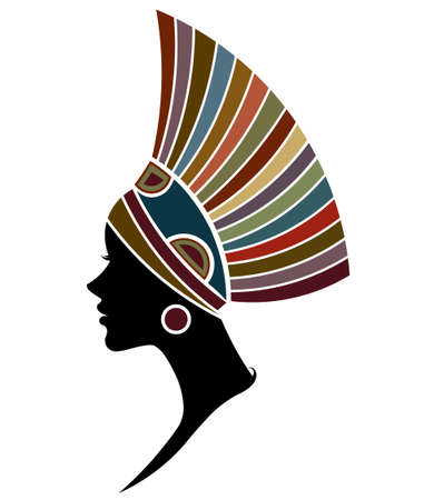 illustration vector of African women silhouette fashion models, beautiful black women on white background 向量圖像