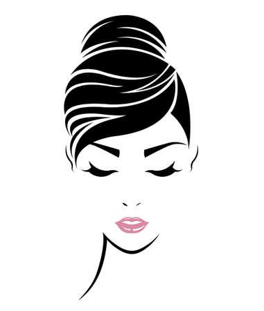 女性の髪のスタイル アイコンのイラスト、ロゴ女性顔白い背景のベクトル