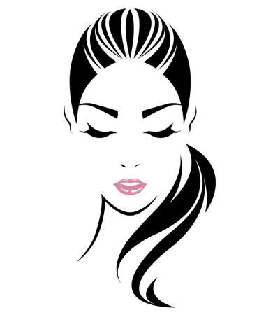 women long hair style icon, logo women face on white background, vector