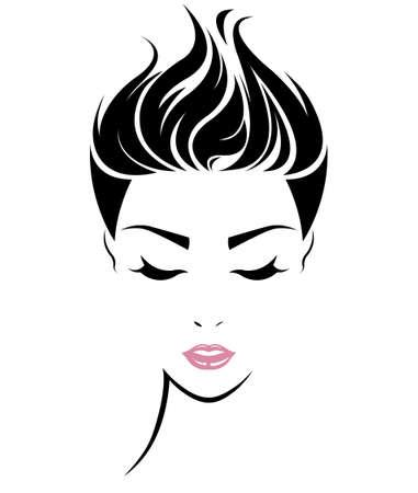 여자의 그림 짧은 머리 스타일 아이콘, 로고 흰색 배경에 여성 얼굴, 벡터
