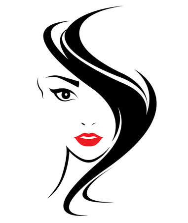 women long hair style icon, logo women face on white background, vector Imagens - 62776392