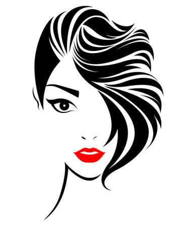 illustration of women short hair style icon, logo women face on white background, vector Ilustração