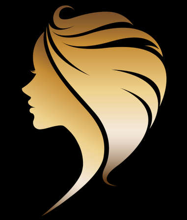 illustration vector of women silhouette golden icon, women face logo on black background Фото со стока - 62776397