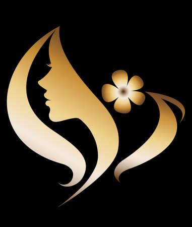 siluetas de mujeres: ilustración vectorial de la silueta de las mujeres icono de oro, las mujeres se enfrentan logotipo sobre fondo negro