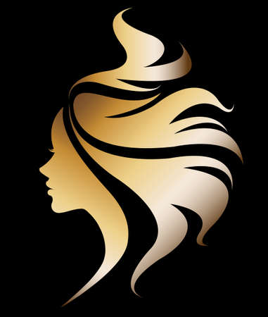 facial care: illustration vector of women silhouette golden icon, women face logo on black background