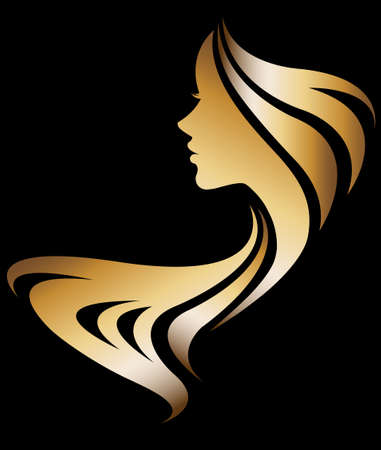 long hair: illustration vector of women silhouette golden icon, women face logo on black background
