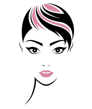 short hair: illustration of women short hair style icon, logo women face on white background, vector Illustration