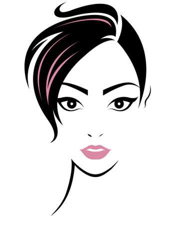 illustration de l'icône de style de femmes de cheveux courts, logo femmes sont confrontées sur fond blanc, vecteur Logo