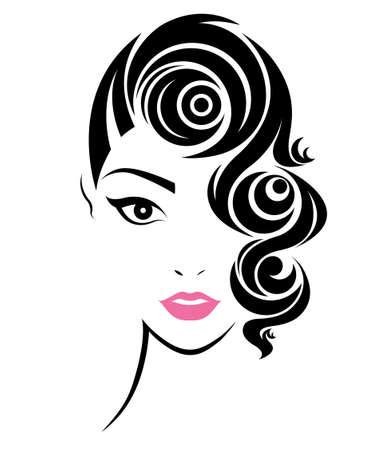 illustration of women short hair style icon, logo women face on white background, vector Stock Illustratie