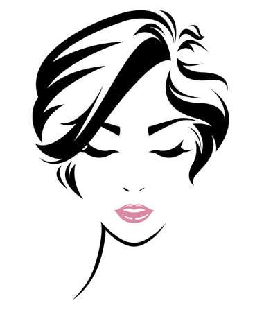 Illustration de l'icône de style de femmes de cheveux courts, logo femmes sont confrontées sur fond blanc, vecteur Banque d'images - 62776436