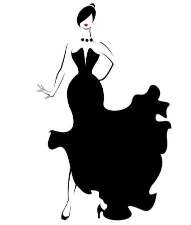 black dress: illustration vector of women silhouette icon, women body in black dress on white background