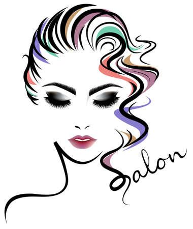 illustration of women short hair style icon, logo women face on white background, vector  イラスト・ベクター素材