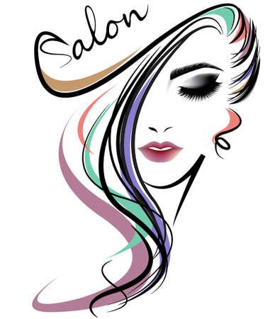 ilustracja kobiety długie włosy w stylu ikony, logo kobiety napotykają na białym tle, wektor Logo