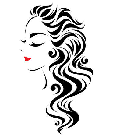 illustration of women long hair style icon, logo women face on white background, vector Zdjęcie Seryjne - 64871965