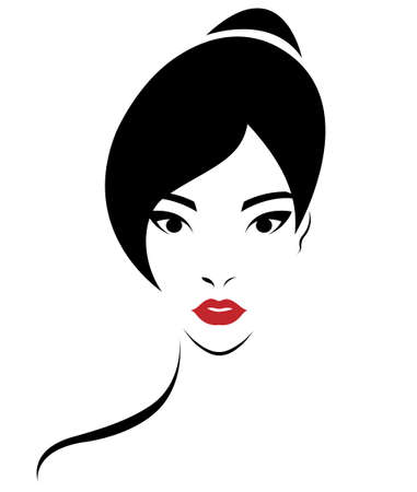 Ilustracja kobiet kok fryzura ikony, logo kobiety napotykają na białym tle, wektor