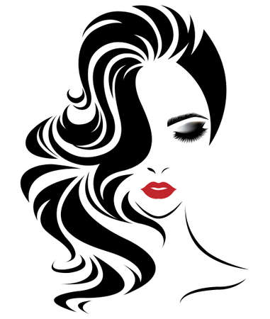 long hair: illustration of women long hair style icon, logo women face on white background, vector