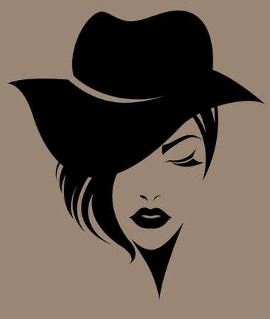 Illustration der Frauen kurze Haare mit einem Hut, retro-Logo Frauen auf braunem Hintergrund Gesicht, Vektor
