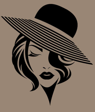 short hair: illustration of women short hair with a hat, retro logo women face on brown background, vector Illustration
