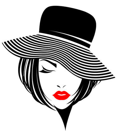 short hair: illustration of women short hair with a hat, retro logo women face on white background, vector Illustration