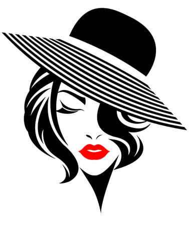 illustration of women short hair with a hat, retro logo women face on white background, vector Illustration