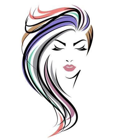 女性の長い髪のスタイル アイコンのイラスト、白い背景の上のロゴの女性顔ベクトル