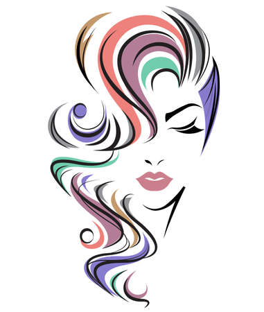 illustration of women long hair style icon, logo women face on white background, vector 免版税图像 - 66627284