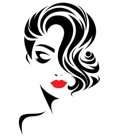 illustration of women short hair style icon, logo women face on white background, vector Çizim