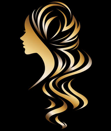 illustration vector of women silhouette golden icon, women face logo on black background