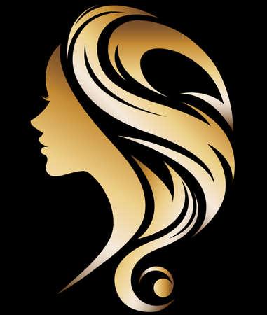 illustration vector of women silhouette golden icon, women face logo on black background Logo