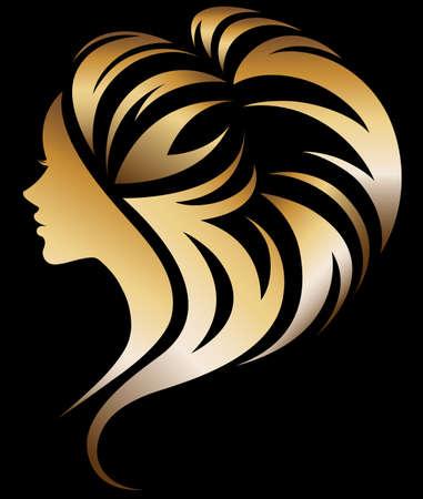 illustration vector of women silhouette golden icon, women face logo on black background